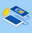 charging smartphone phone from solar battery vector image vector image