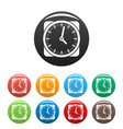 clock retro icons set color vector image vector image