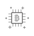 cryptocurrency bitcoin chip thin line flat design vector image