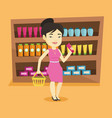 customer with shopping basket and tube of cream vector image vector image