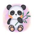 cute bapanda holding bamboo leaves vector image vector image