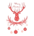 Deer head in wreath with Christmas decorations vector image vector image