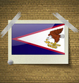 Flags American Samoa at frame on a brick vector image