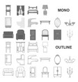 furniture and interior monochrom icons in set vector image vector image