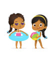 happy afro american children in swimsuit play vector image