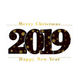 happy new year merry christmas card black number vector image