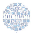 hotel services concept in circle vector image vector image