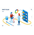 isometric dietician and woman patient for diet app vector image
