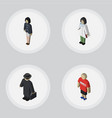 isometric people set of doctor guy detective and vector image vector image