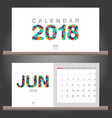 june 2018 calendar desk calendar modern design vector image