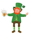 leprechaun with a beer mug isolated on a white vector image