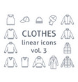 men clothes simple flat line icons vector image vector image