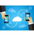 Mobile phone data sharing internet cloud vector image