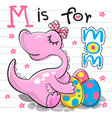 mother dinosaur with three egg dinosaur vector image vector image