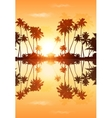 Orange sky palms silhouettes with reflection vector image vector image