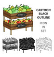 raw food lying on rack shelves icon in cartoon vector image