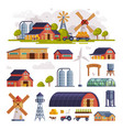 rural buildings and agricultural objects set vector image vector image