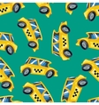 Seamless pattern of yellow taxi cars vector image vector image