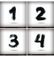 set calligraphic watercolor numbers vector image vector image