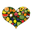 set of fruit icons forming heart shape vector image