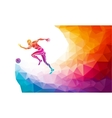 soccer player footballer kicks ball in trendy vector image