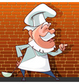 tells the cartoon cook with a ladle in hand vector image vector image