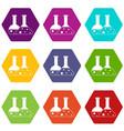 transparent flasks icon set color hexahedron vector image vector image