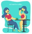 two women drinking coffee vector image