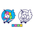 unicorn coloring vector image vector image