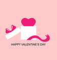 valentines day card with heart in box gift vector image vector image