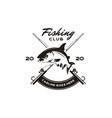 vintage angler fishing emblem logo design vector image