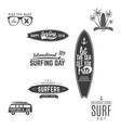 vintage surfing graphics and emblems for web vector image vector image