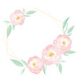 watercolor wild pink rose wreath frame vector image vector image