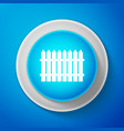 white fence icon isolated on blue background vector image