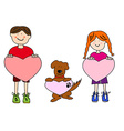 Cartoon kids and dog holding heart shapes vector image