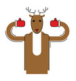deer santa isolated christmas animal beast for vector image