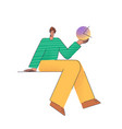 a man with an abstract figure in his hand vector image vector image