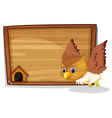 An owl flying near the wooden board vector image vector image