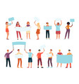angry men holding blank placard above head vector image vector image