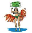 Brazilian in carnival costume vector image vector image