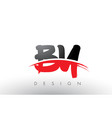 by b y brush logo letters with red and black vector image vector image