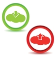 Cloud upload download icons vector image vector image
