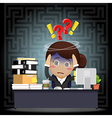 Confused business woman work on computer at desk vector image vector image
