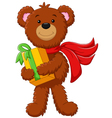 cute bear holding gift box vector image