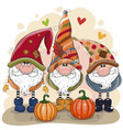 cute cartoon gnomes with two pumpkins vector image vector image