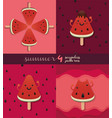 cute ice cream watermelon pattern vector image vector image