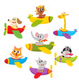 cute little baby animal pet characters flying on vector image vector image