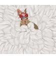 easter rabbit flower sketch doodle background vector image vector image