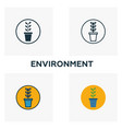 environment icon set four elements in diferent vector image vector image