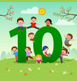 flashcard for learning to counting number 10 vector image vector image
